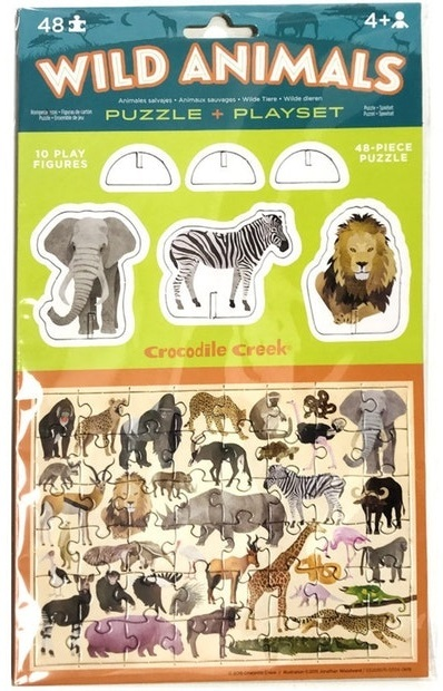 Crocodile Creek: Pop-Out Puzzle & Playset - Wild Animals
