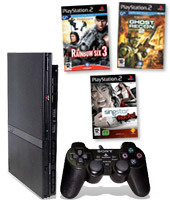 PlayStation 2 Console + SingStar Rocks!, Ghost Recon 2 & Rainbow Six 3 for PlayStation 2