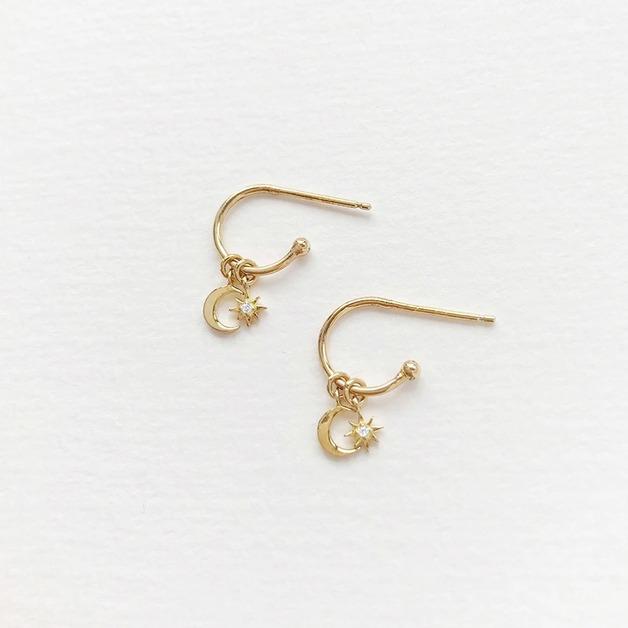 Wanderlust + Co: Celestial Hoop Gold Huggie Earrings