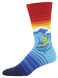 Socksmith: Men's Catch A Wave Crew Socks - Blue
