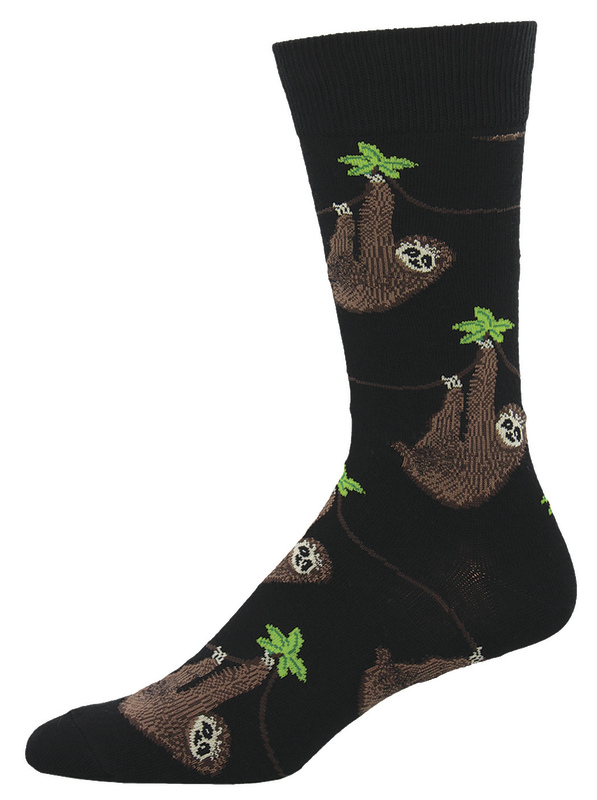 Socksmith: Men's Sloth Crew Socks - Black