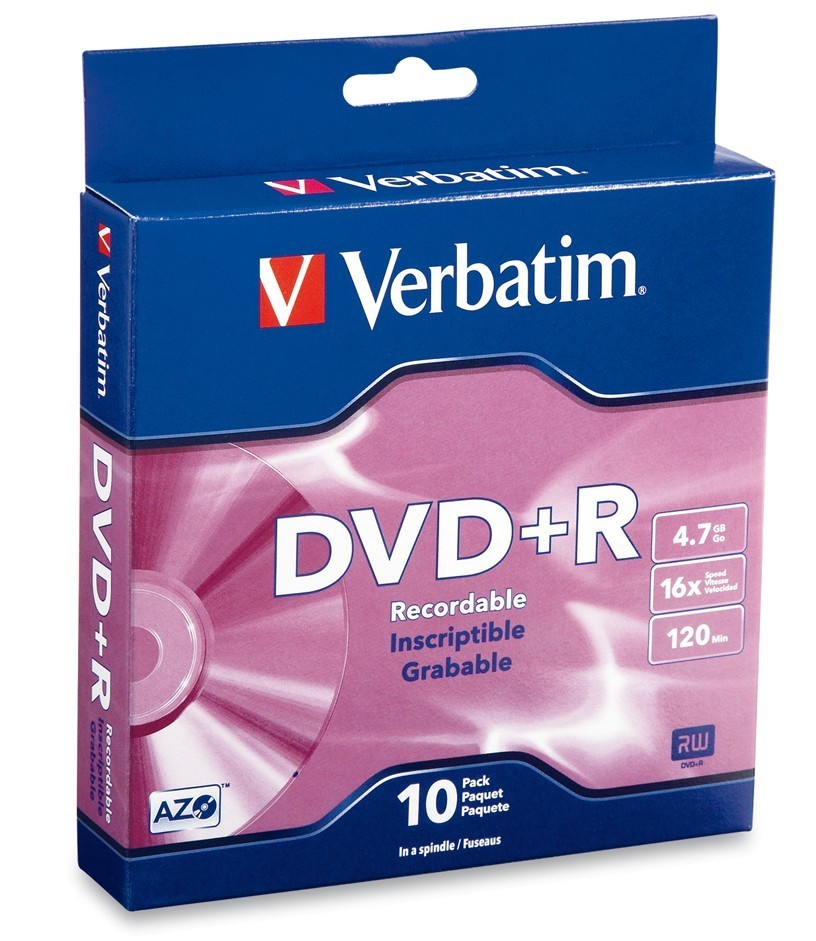Verbatim DVD+R 4.7GB Spindle 16x (10 Pack) image