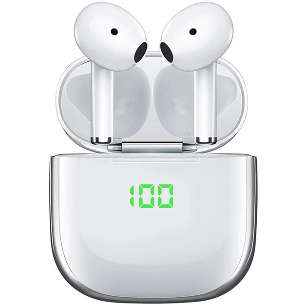 Wireless Bluetooth Headphones with Wireless Charger - White/Silver
