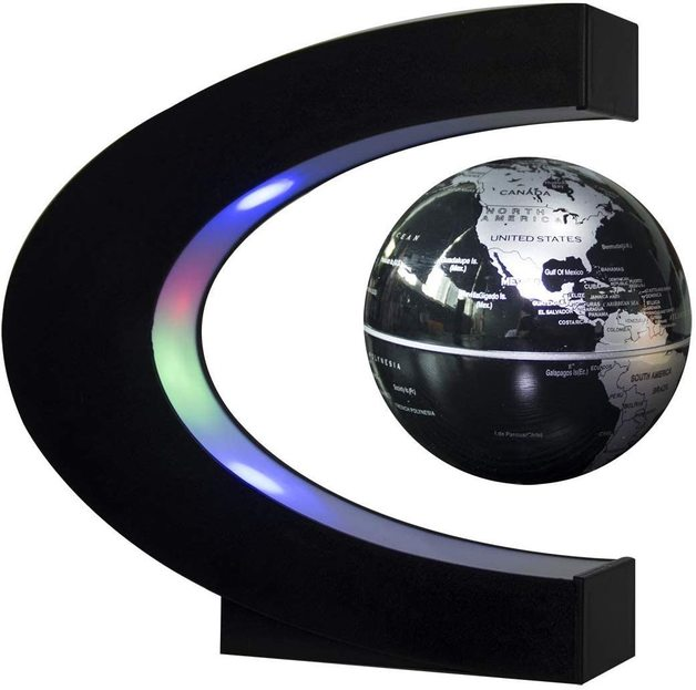 Ape Basics: Floating Globe with LED Lights C Shape Magnetic Levitation Floating Globe World Map for Desk Decoration