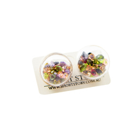 Short Story: Fantasy Bubble Earrings Gems Purple Gold Stud