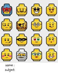 School Composition Notebook Lego Emoji for Boys by Wagging Tails