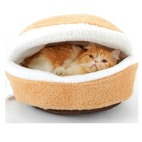 Clamshell Indoor Pet Bed - For Medium Cats & Dogs (Brown)
