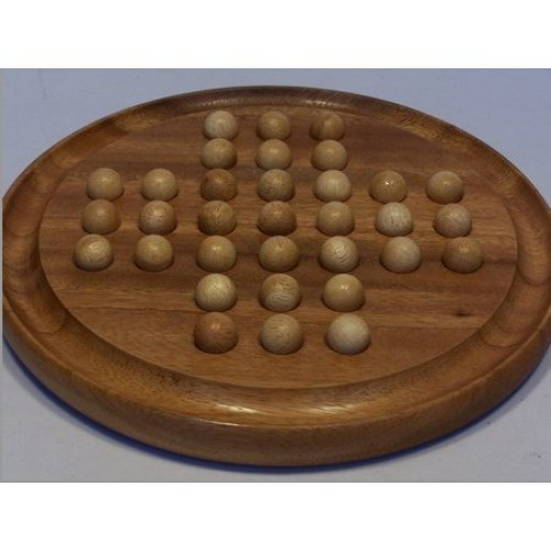 Solitaire Wood with Wooden Marbles (Assorted Colour Marbles)