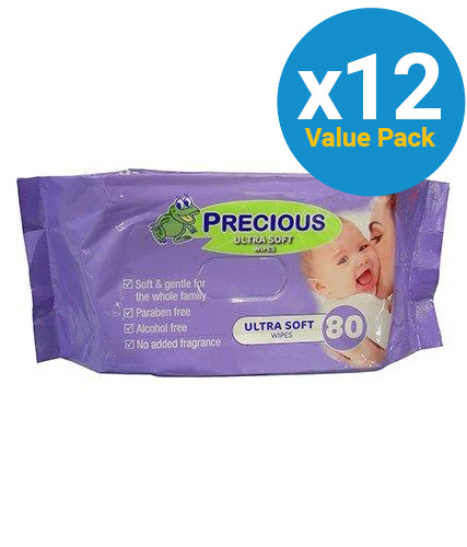 Precious - Ultra Soft Baby Wipes Bulk Pack (80 Wipes - Carton 12)