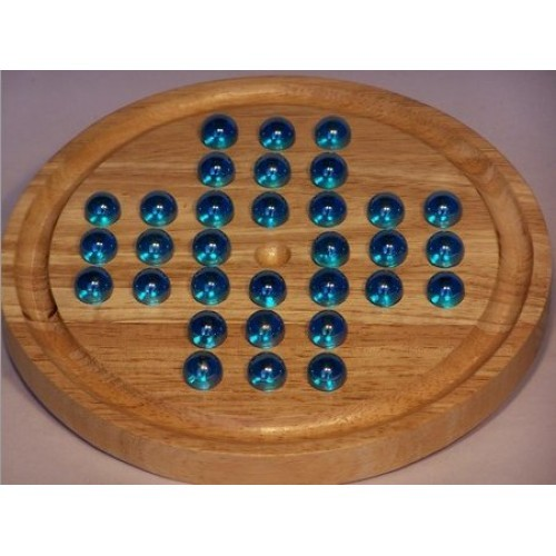 Solitaire Wood with Marbles (Assorted Colour Marbles)