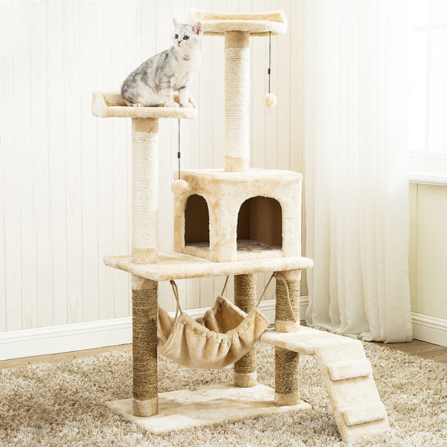 Gorilla: Cat Tree (6 Levels) With Hammock 1.4M - White / Light Brown