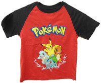 Pokemon: Red & Black Starters - T-Shirt (Size 7)