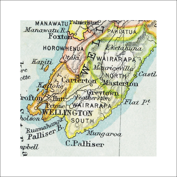 Map Wellington New Zealand.Wellington Vintage Map Print Framed At Mighty Ape Nz