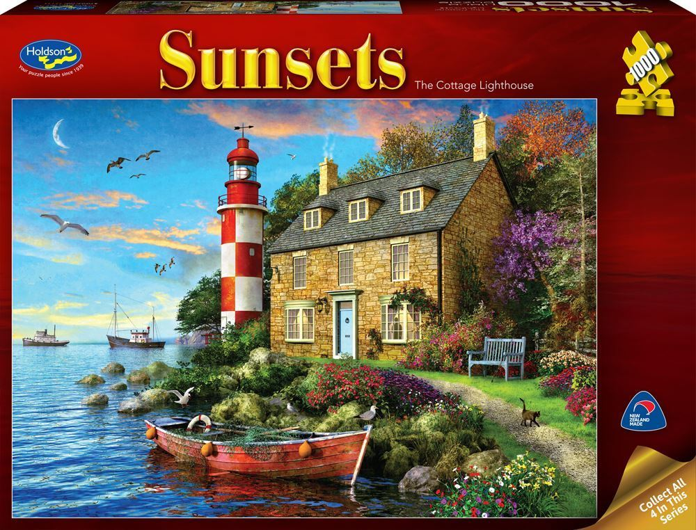 Holdson: 1000 Piece Puzzle - Sunsets (The Cottage Lighthouse) image