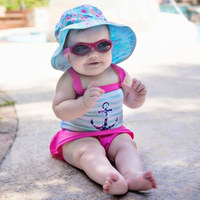 Banz Carewear: Reversible Sunhat - Floral Mint/Turquoise (Under 2 years)
