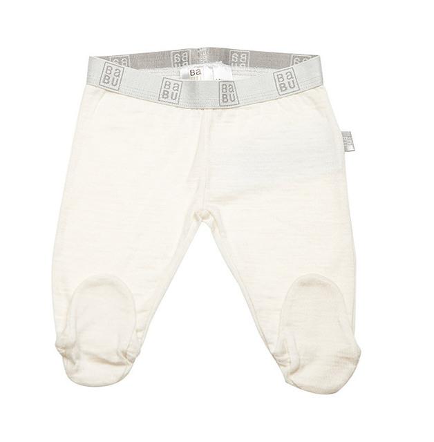 Babu Merino Leggings with Feet - Cream (6-12 months)