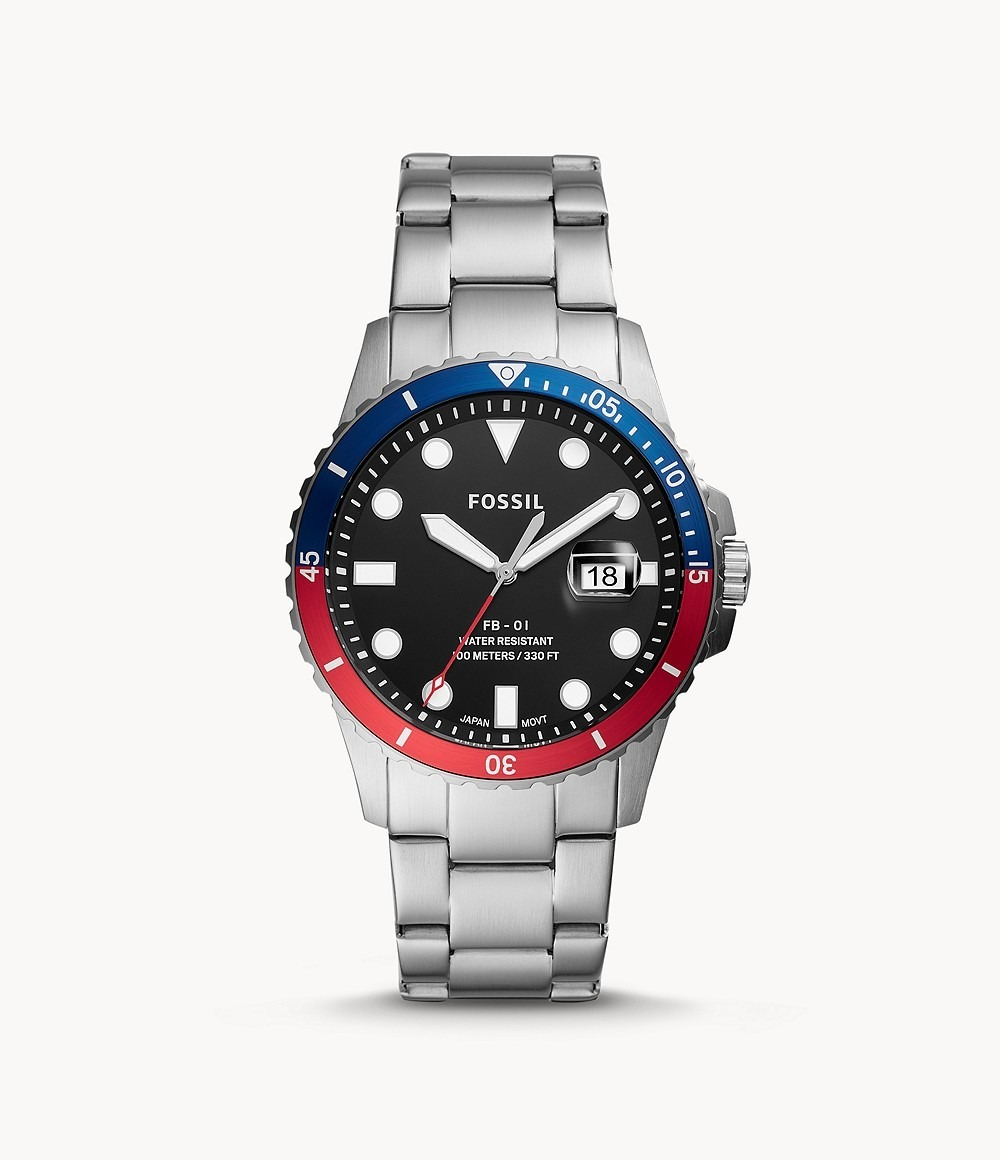 Fossil: FB-01 Watch - Silver/Red & Blue image