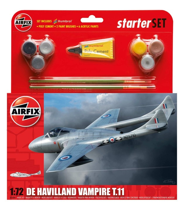 Airfix De Havilland Vampire T11 Starter Set 1/72 Model Kit