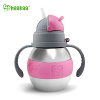 Haakaa: Stainless Steel Thermal Bottle with Straw - Pink (280ml)