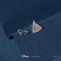 Short Story: Disney Earring Cinderella Dress and Shoe - Silver