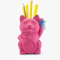 Mustard: Lucky Cat Pen Pot - Pink