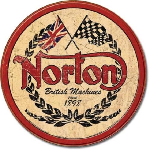 Norton Logo Round Retro Tin Sign