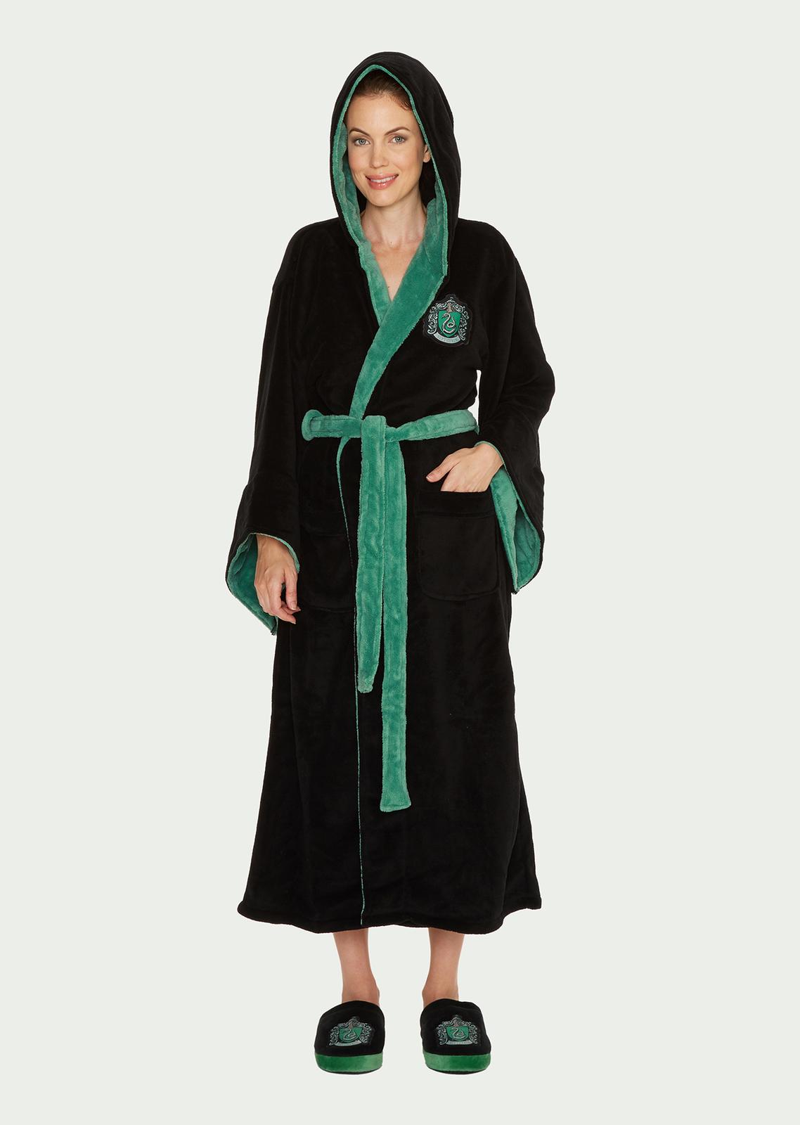 Harry Potter: Slytherin Fleece Robe - Black & Green Women's (One Size) image