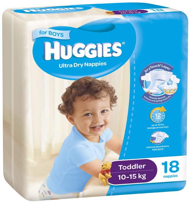 Huggies Ultra Dry Nappies - Size 4 Toddler Boy (18)