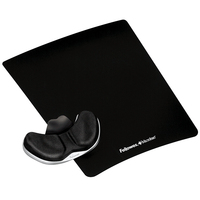 Fellowes Gliding Palm Support & Mouse Pad - Gel Clear - Black