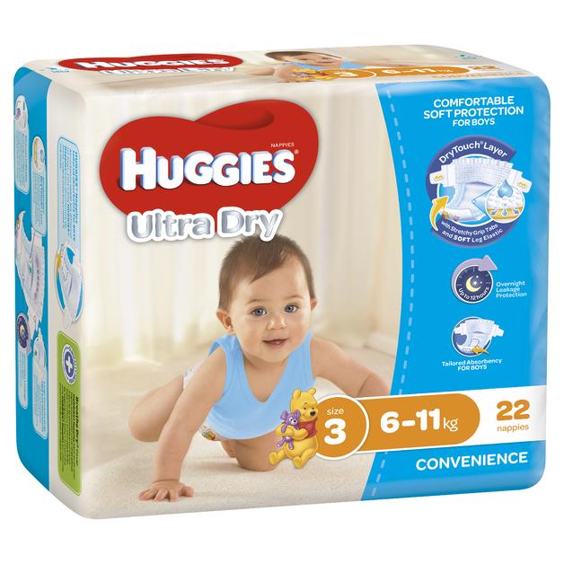 Huggies Ultra Dry Nappies - Size 3 Crawler Boy (22)
