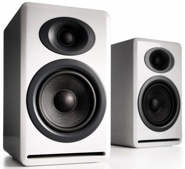 Audioengine P4 Passive Bookshelf Speakers (Pair) High-Gloss White