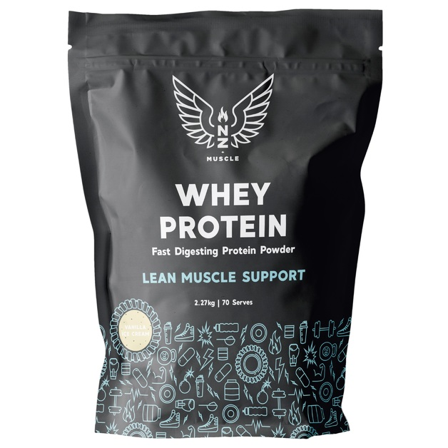NZ Muscle Whey Protein - Vanilla Ice Cream (2.27kg)