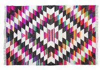 Multi-Coloured Geometric/Diamond Pattern Cotton Rug