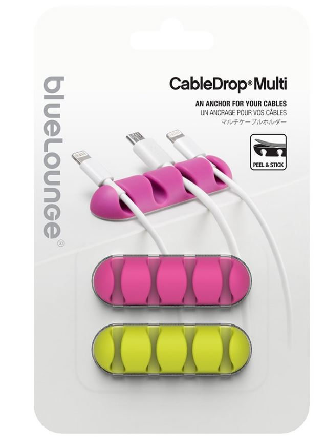 Bluelounge CableDrop Multi Cable Clips - Bright Multi image