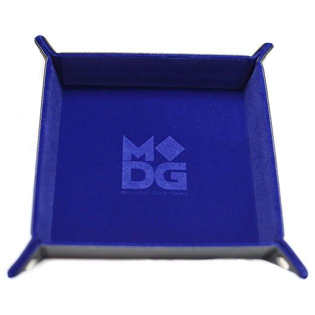 Velvet Folding Dice Tray: - Blue (10x10)