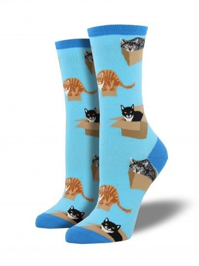 Socksmith: Women's Cat In A Box Crew Socks - Azure