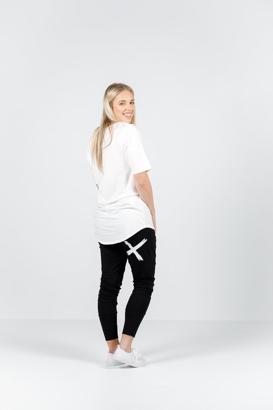 Home-Lee: Apartment Pants - Black With A Single White X - 10