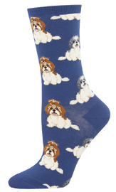 Socksmith: Women's I Shih Tzu Not Crew Socks - Blue