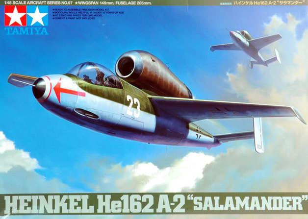 """Tamiya 1/48 German Heinkel He162 A2 """"Salamander"""" - Model Kit"""