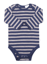 Babu: Merino Long Sleeve Body Suit - Navy Stripe (6-12m) image