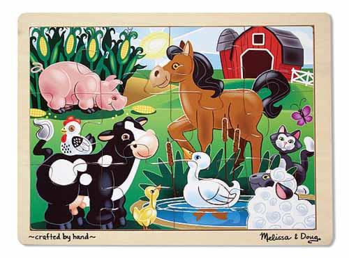 On the Farm Wooden Jigsaw Puzzle - Melissa & Doug