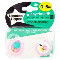 Closer to Nature Any Time Soother 0-6 Months (Pink Balloons) - 2 Pack