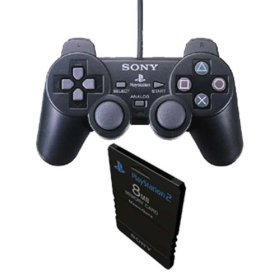 Sony Playstation 2 Double Pack - Dual Shock 2 (Black) Controller + Memory Card for PS2