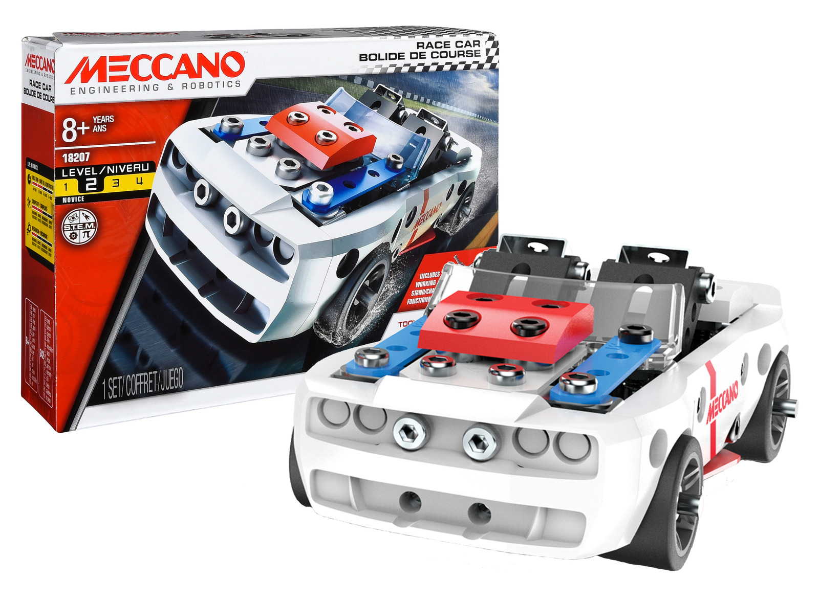 Meccano 5 Race Car Vehicle STEM Construction Game Toy Gift Model Building Set