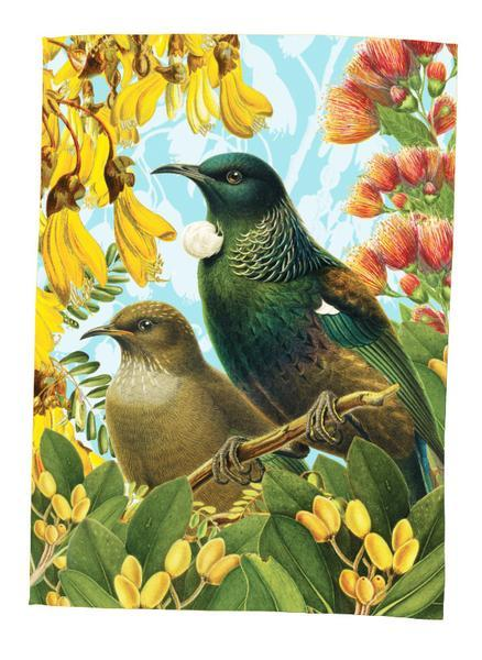 Botanical Tui - Tea Towel
