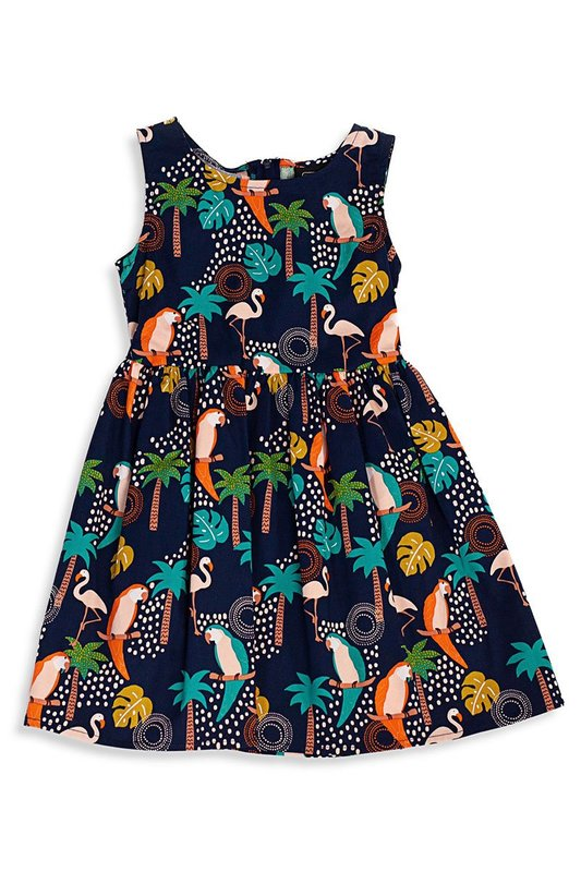 Retrolicious: Tropical Birds Kids Dress - 4-5