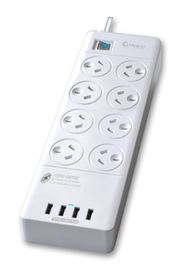 Sansai 8 Way Surge Powerboard with 4 x USB Charging Ports