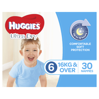 Huggies Ultra Dry Nappies Bulk - Junior Boy 16+kg (30)