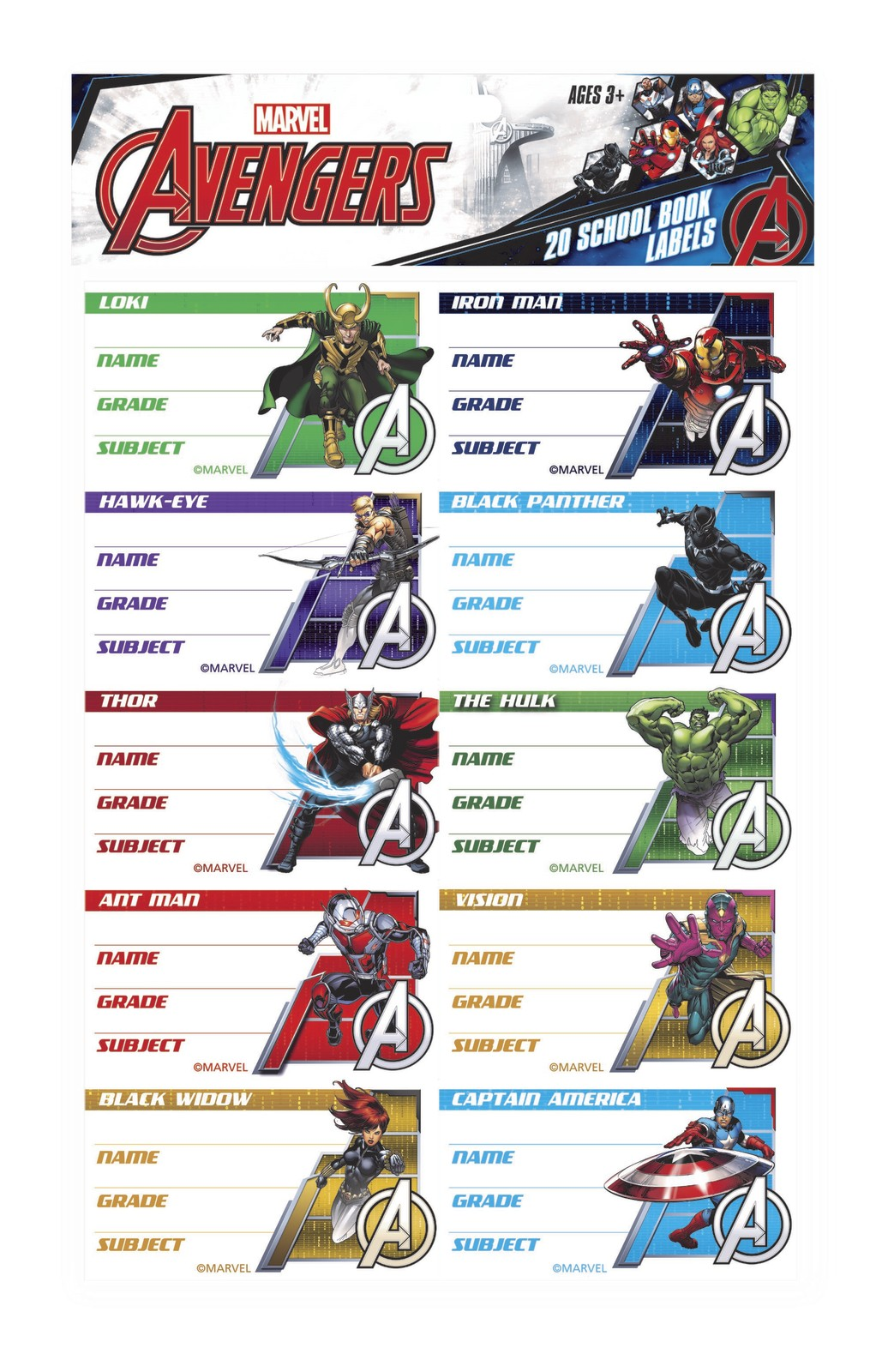 Marvel Avengers Book Labels image