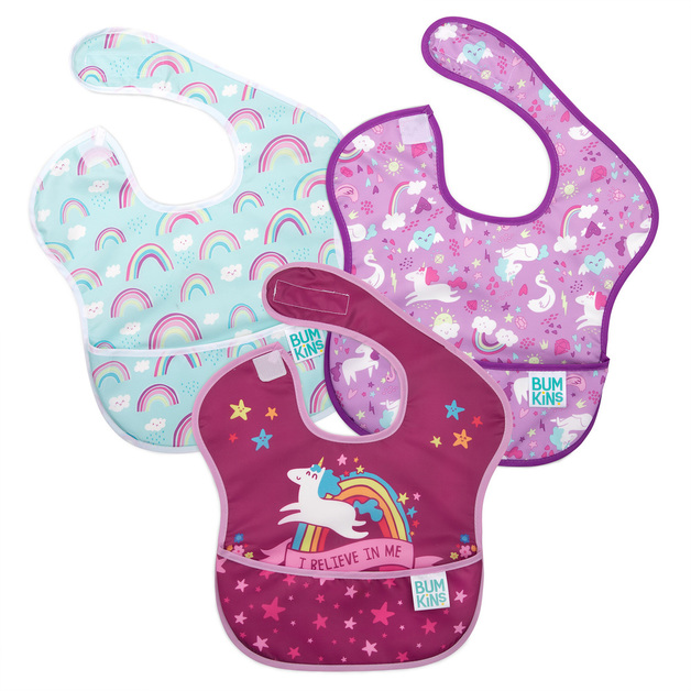 Bumkins: SuperBib - Unicorn/Rainbows (3 Pack)